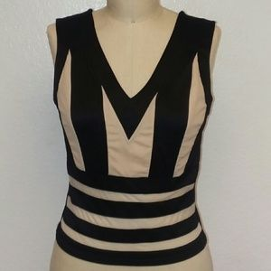 Alt B Color Block  Black Beige  Dress Top NWT Sz L